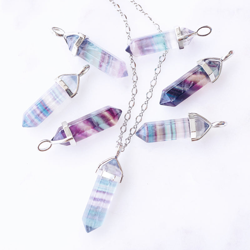 Blue Fluorite Crystal Necklace