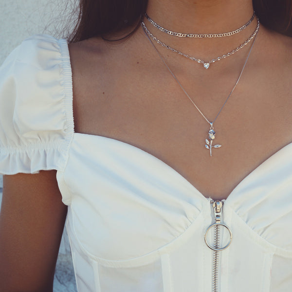 Diamond Heart Chain Choker