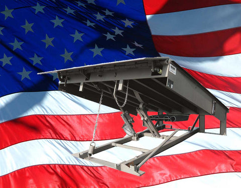 Loading Dock Leveler with US Flag in background