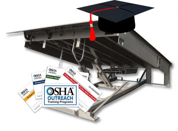 Loading dock with graduation hat and OSHA certificate