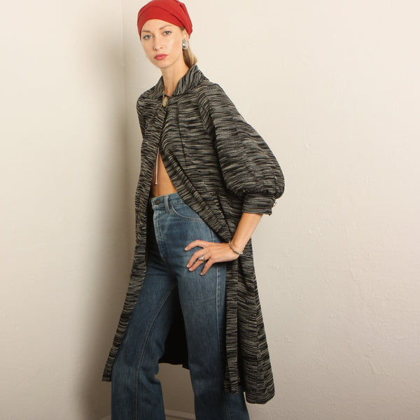 Vintage 30's Woven Balloon Sleeve Trapeze Coat
