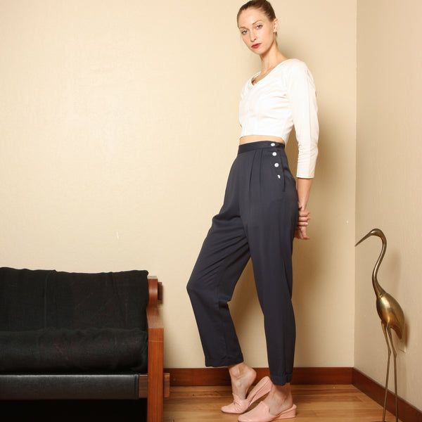 Vintage 80's Ralph Lauren Side Button Trousers