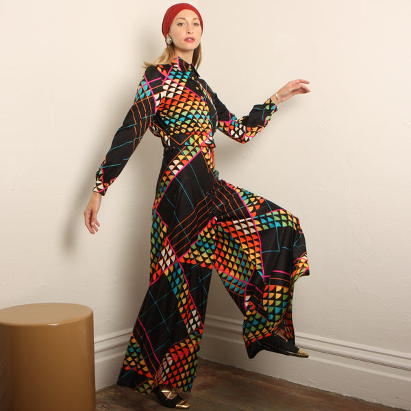 Vintage 70s Op-Art Rainbow Palazzo Jumpsuit + Jacket Set