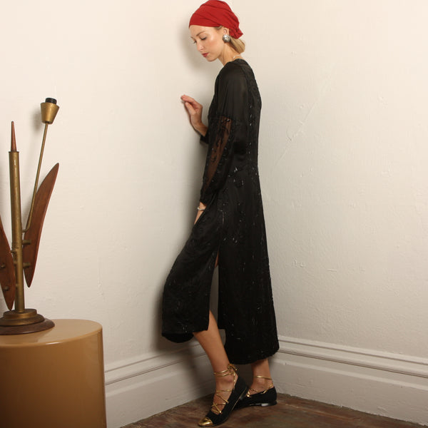 Vintage 20's Beaded Silk Satin Flapper Dress