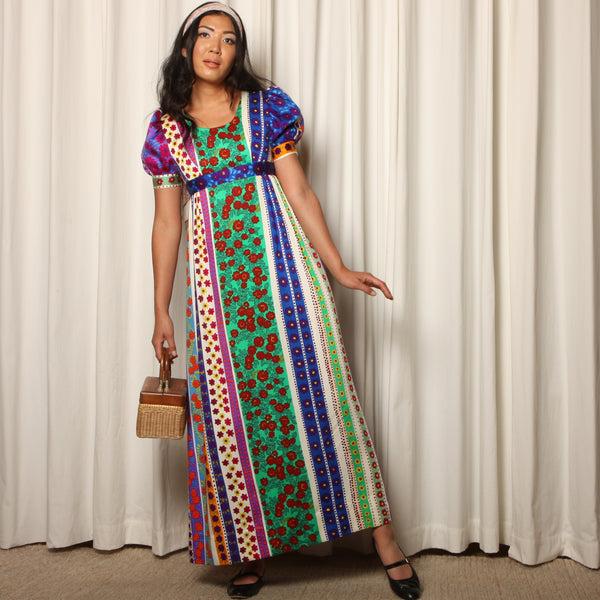 Vintage 60's Psychedelic Floral Puff Sleeve Maxi Dress