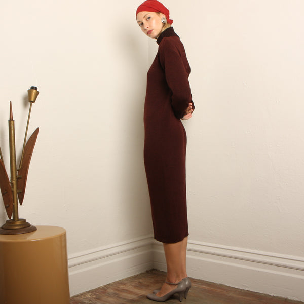 Vintage 80's Brenda Horan Oxblood Santana Knit Dress