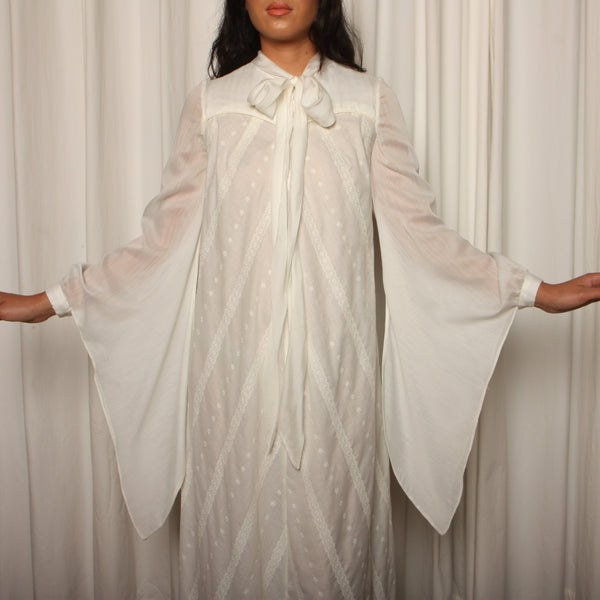 Vintage 70's Louise Perini Eyelet Cotton Angel Sleeve Gown