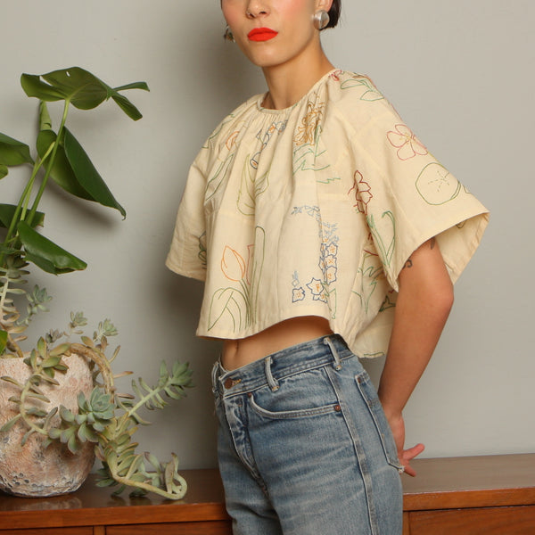 Trapeze Top - Botanical Hand Embroidered Antique Cotton