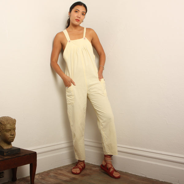Vintage 80's Soft Meringue Cotton Overalls