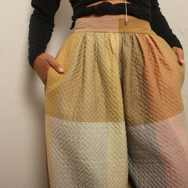 Quilted Silk Espadrille Balloon Pants