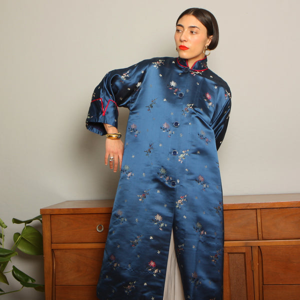 Vintage 40's Sapphire Brocade Duster