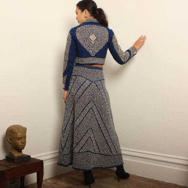 Vintage 40's Traditional Mexican Charro Skirt Suit