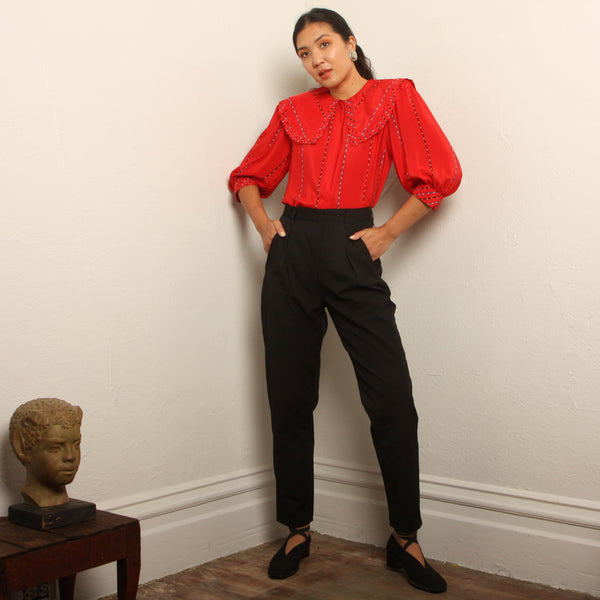 Vintage 80's Esprit Polished Cotton Side Zip Pants