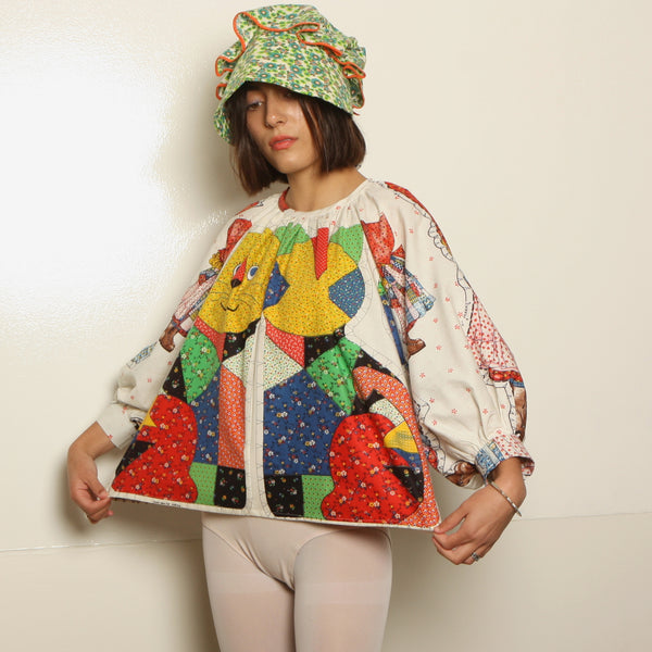 Trapeze Top - 1970's Holly Hobbie + Calico Cat
