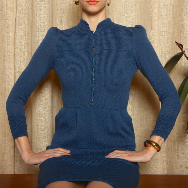 Vintage 80's St John Puff Sleeve Knit Dress