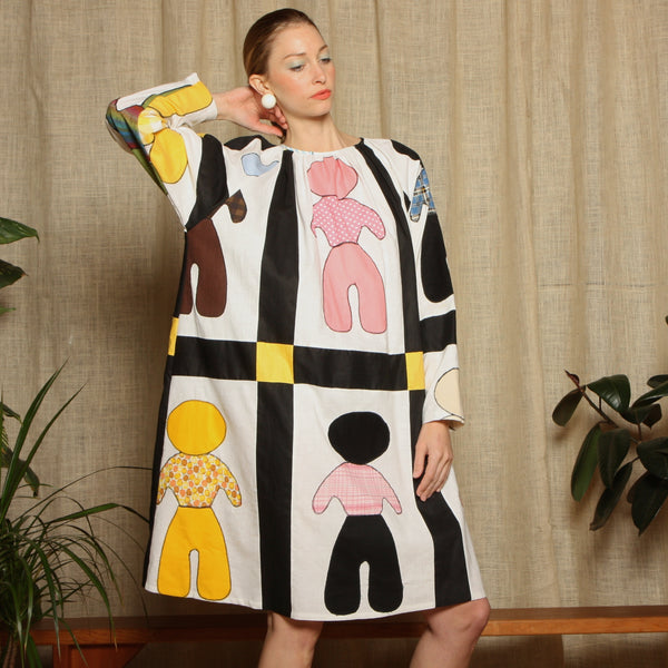 Trapeze Dress - 1960's Farm Boy Folk Quilt
