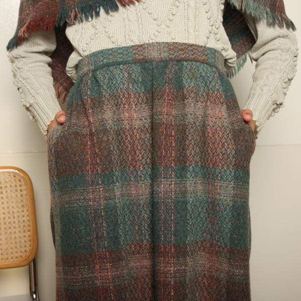 Vintage 70's Woven Wool Fringe Shawl + Skirt Ensemble
