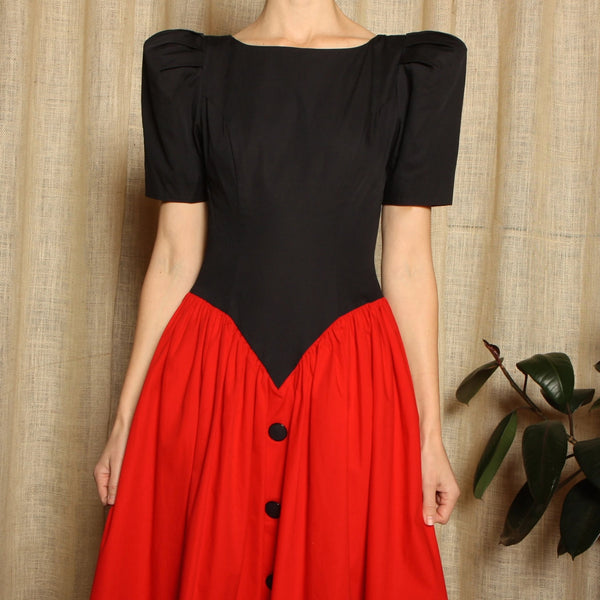 Vintage 80's Leslie Lucks Cotton Pouf Dress