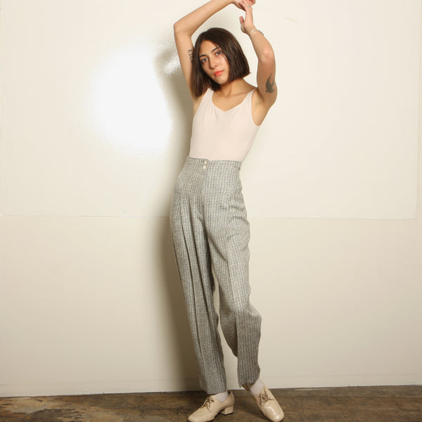 Vintage 80's Static Gray Woven Pleat Trousers