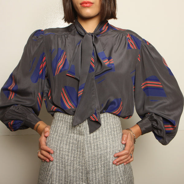 Vintage 80's Printed Silk Pussy Bow Blouse