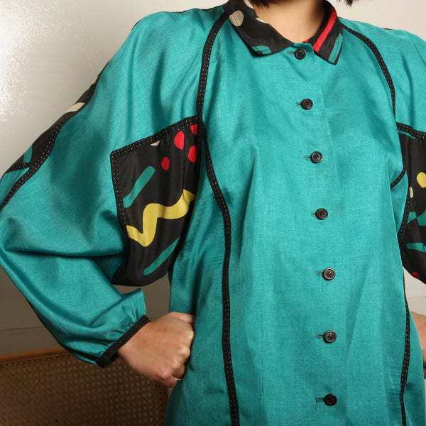 Vintage 80's Koos Couture Silk Shapes Blouse
