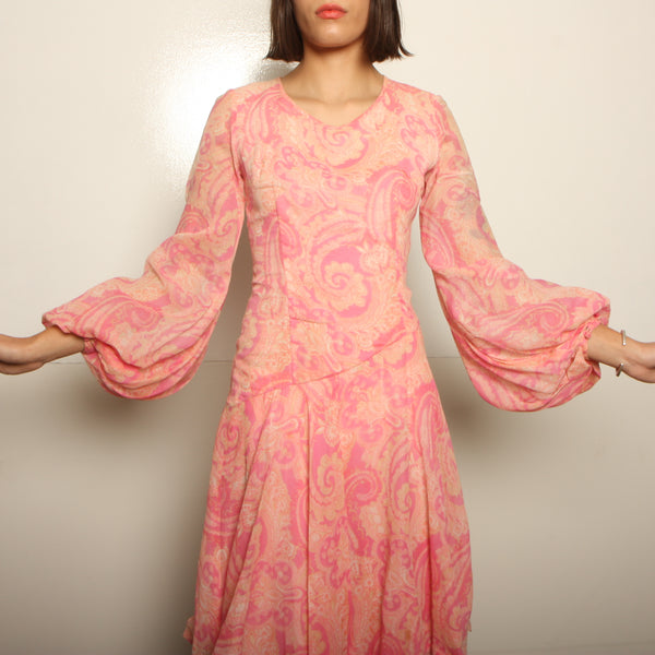 Vintage 60's Tiered Voile Bishop Sleeve Dress