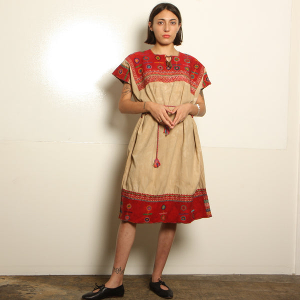 Vintage 70's Overdyed Mexican Embroidered Huipil