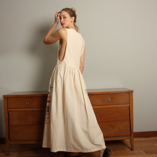 Vintage Cotton Feedsack Jumper Dress