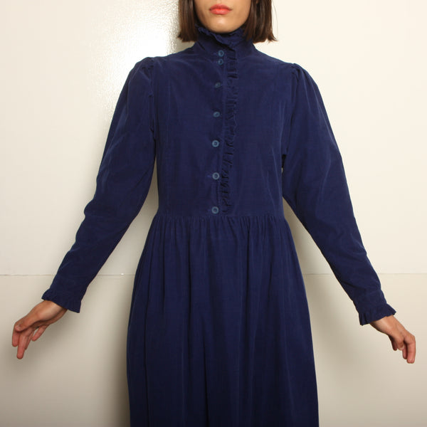 Vintage 80's Laura Ashley Aubergine Corduroy Dress
