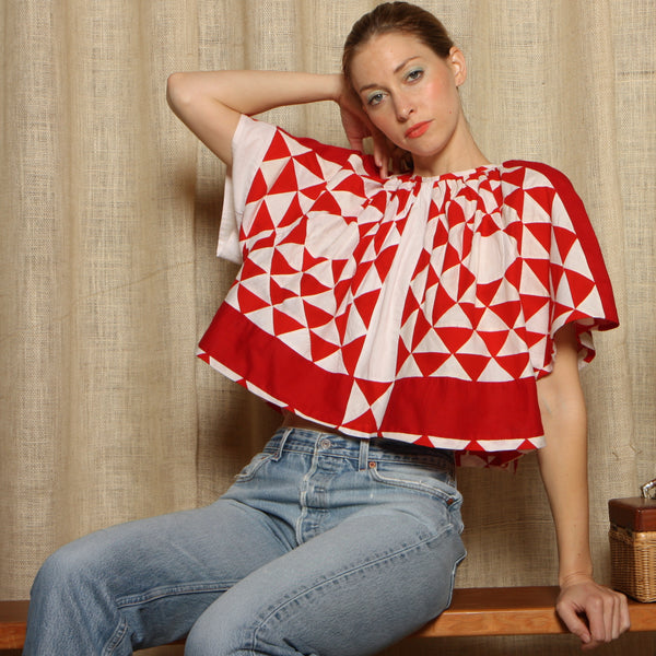Trapeze Top - 1920's Americana Hand Pieced Quilt