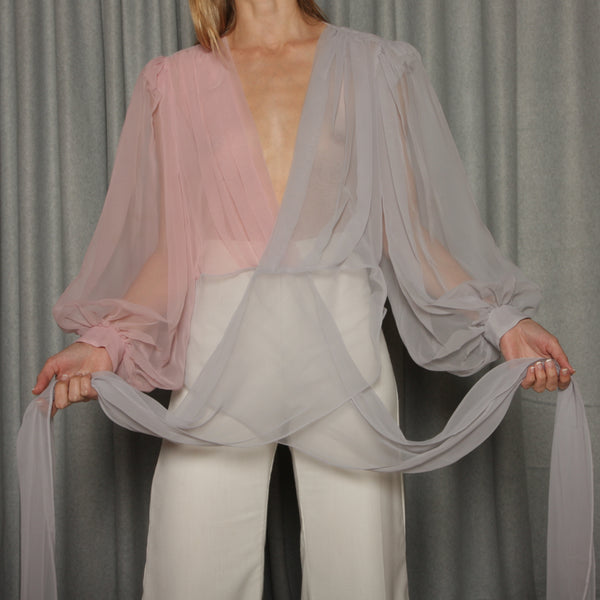 Vintage 80's Sheer Pastel Wrap Top