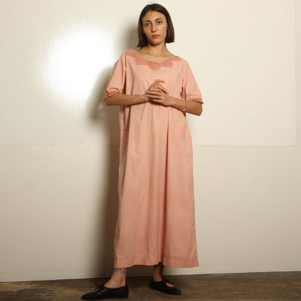 Antique Victorian Blush Overdyed Cotton + Crochet Gown