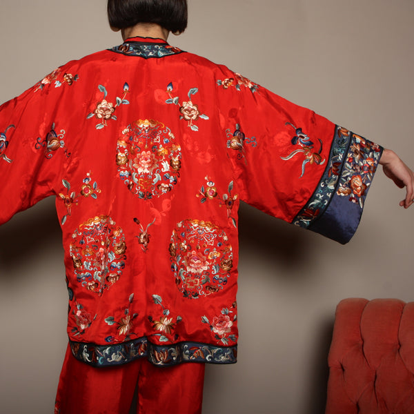 Vintage 40's Embroidered Chinese Silk Pajama Set