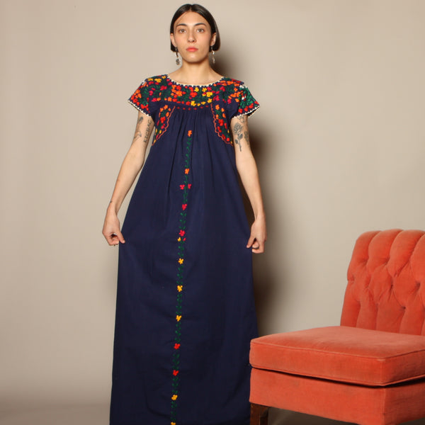 Vintage 70's Oaxacan Embroidered Indigo Dress
