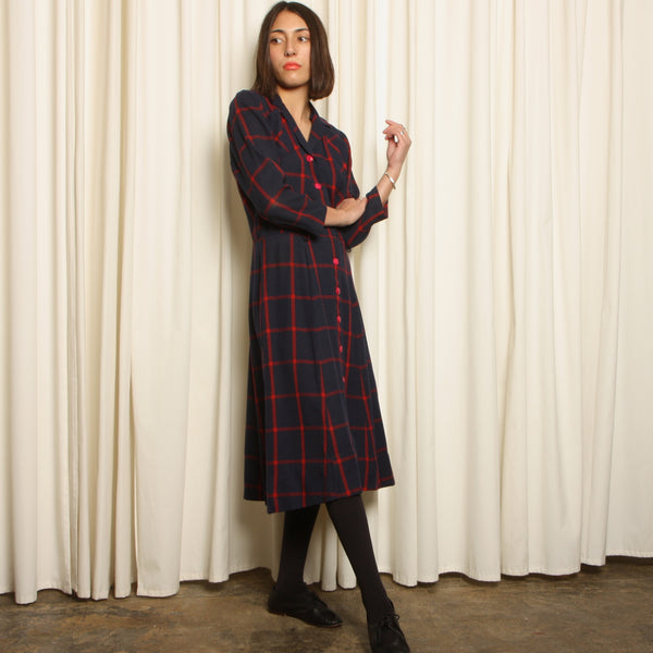 Vintage 40's Navy Windowpane Plaid Wool Dress