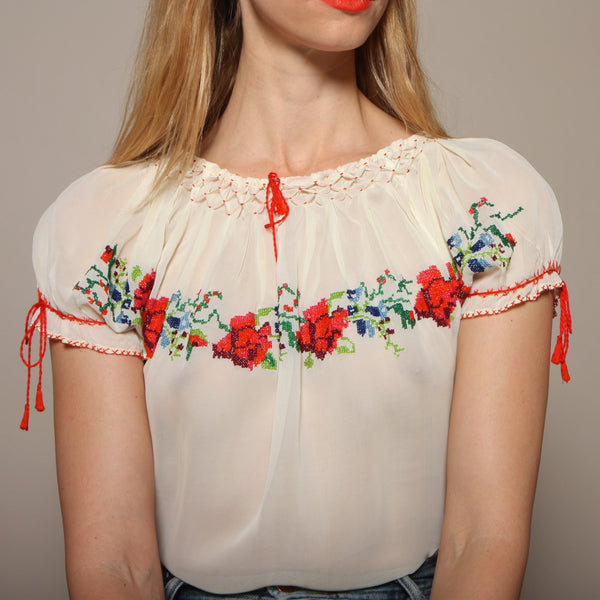 Vintage 30's Cross Stitch Embroidered Blouse