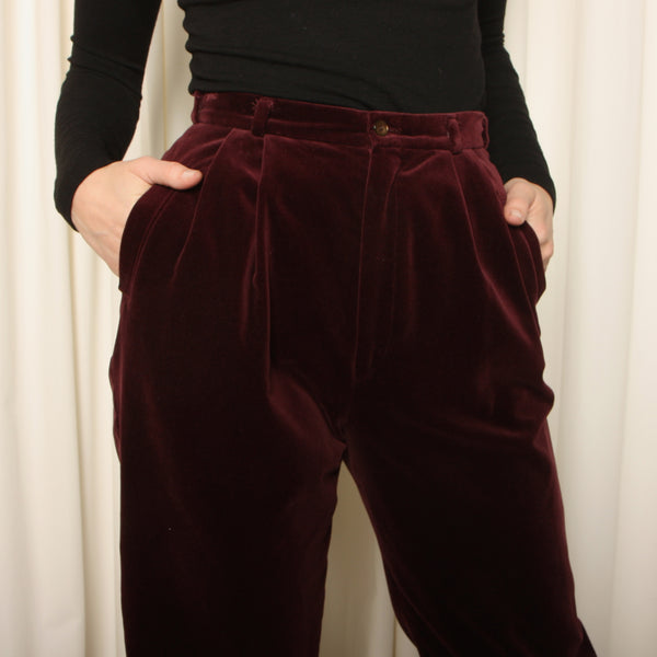 Vintage 70's Wine Velvet Pleated Knickers
