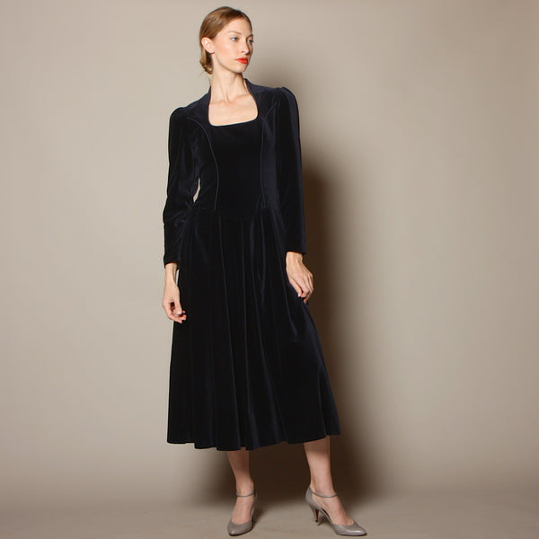Vintage 80's Laura Ashley Midnight Velvet Medieval Dress