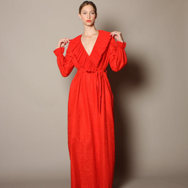 Vintage 70's Richard Assatly Micropleat Ruffle Maxi Dress