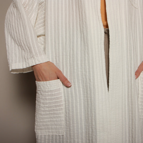 Vintage 80's White Cotton Pintuck Pleat Duster