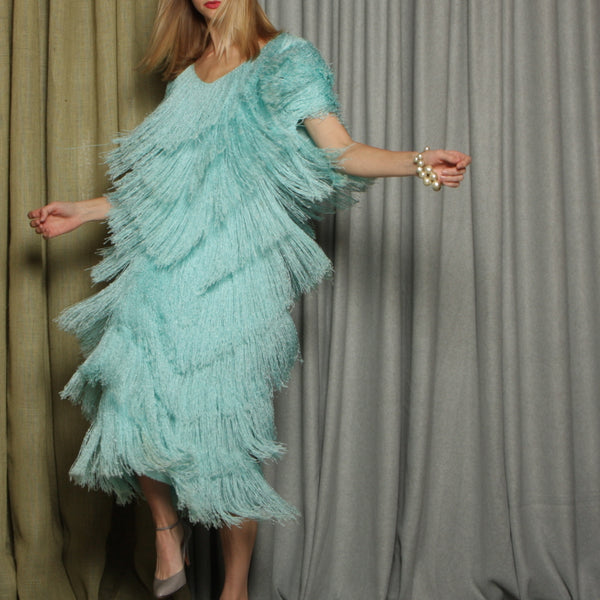Vintage 80's Hand Loomed Knit Fringe Dress