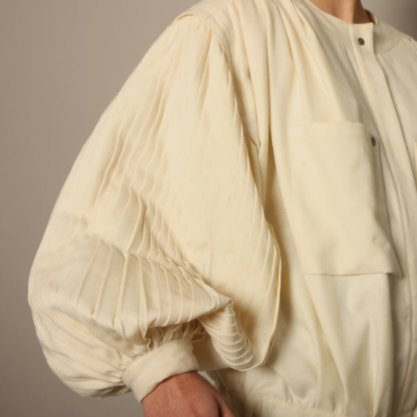 Vintage 80's Cream Pleated Wool Balloon Sleeve Bomber