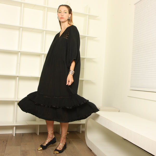 Vintage 70's Black Cotton Gauze Poet Dress