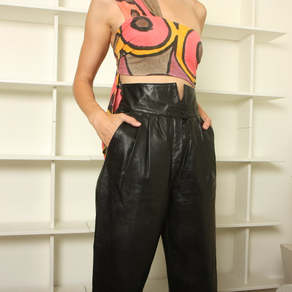 Vintage 80's Chic High Waist Leather Trousers