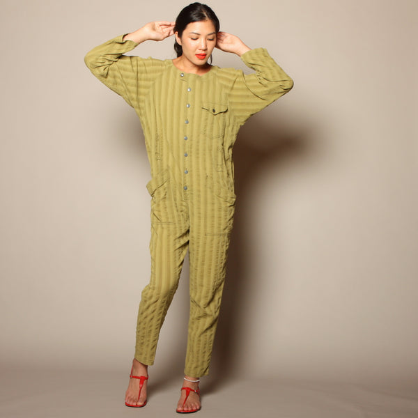 Vintage 80's Moss Cotton Striped Union Jumpsuit