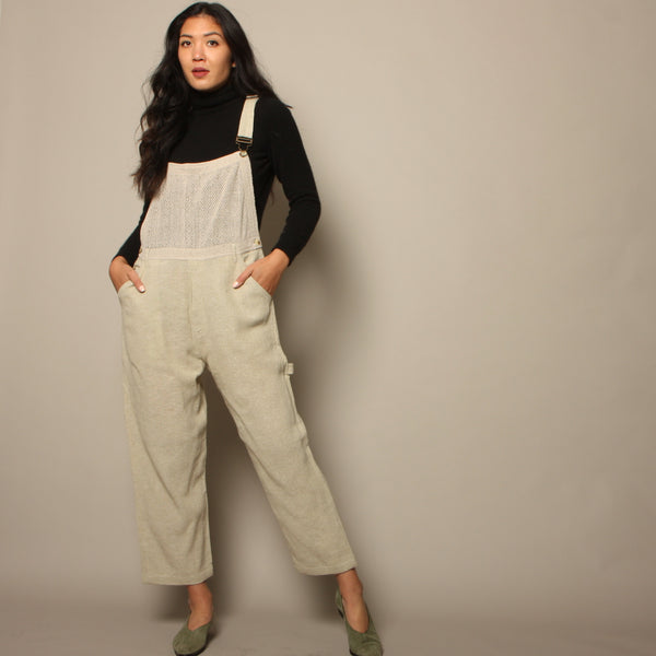 Vintage 90's Natural Woven Cotton + Mesh Overalls