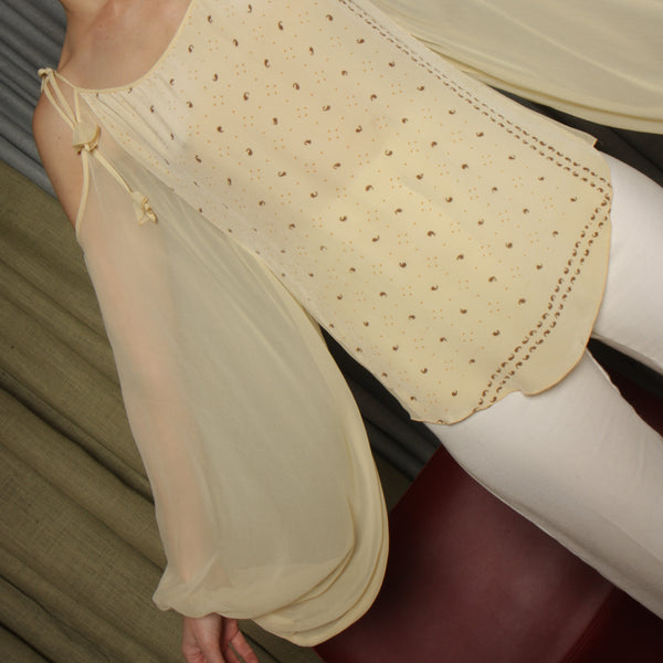 Vintage 30's Sheer Balloon Sleeve Blouse
