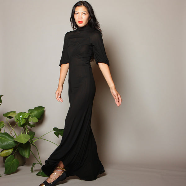 Vintage 30's Silk Crepe Jersey Bias Gown