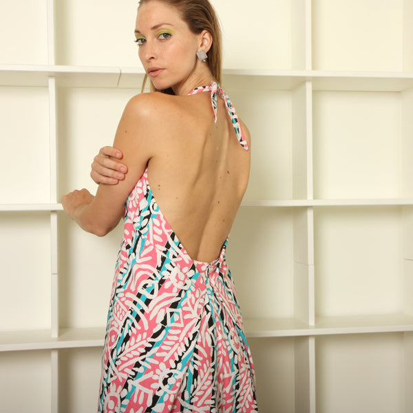 Vintage 80's Cotton Surf Print Backless Dress