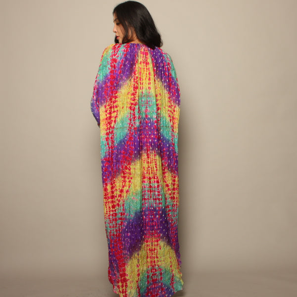 Vintage 70's Raksha Neiman Marcus Rainbow Silk India Dress